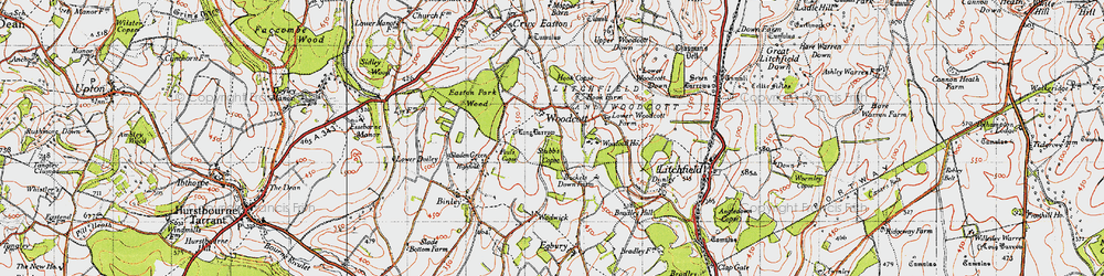 Old map of Woodcott in 1945