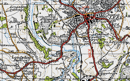Old map of Woodcroft in 1947