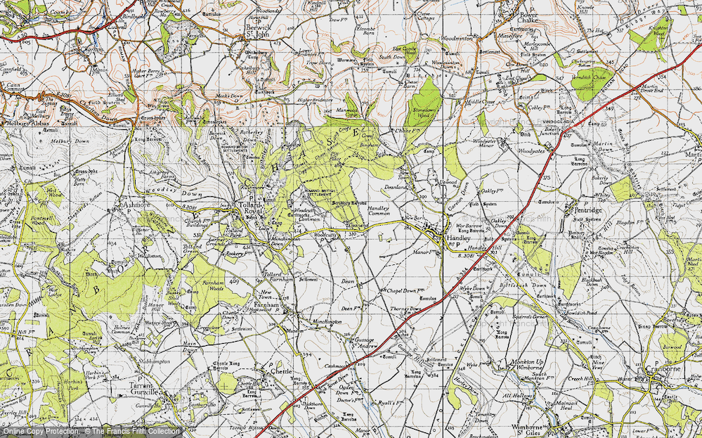 Old Map of Woodcutts, 1940 in 1940