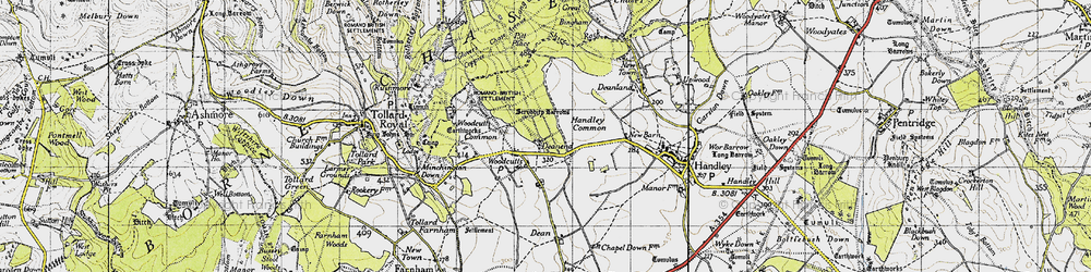 Old map of Woodcutts in 1940