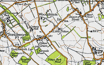 Old map of Woodditton in 1946