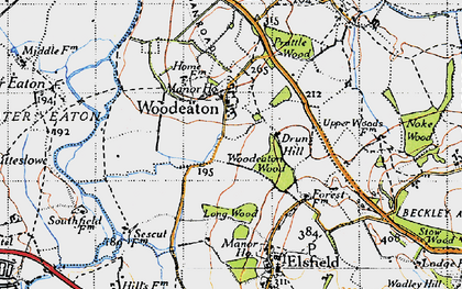 Old map of Woodeaton in 1946