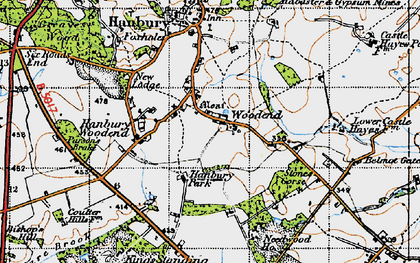 Old map of Woodend in 1946