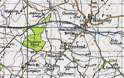 Old map of Woodend Green in 1946