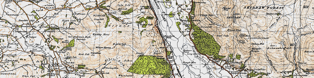 Old map of Whinlatter in 1947