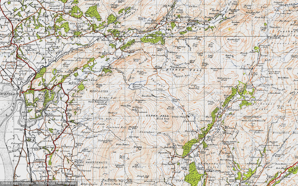 Old Map of Historic Map covering Wood Knotts in 1947