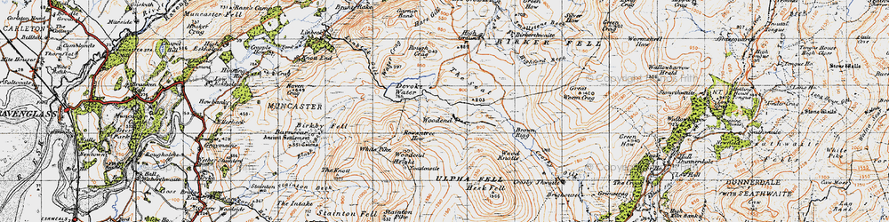 Old map of Withe Bottom in 1947