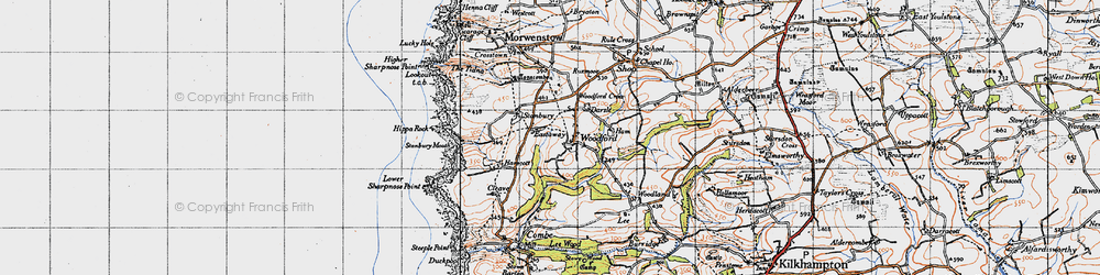 Old map of Woodford Cross in 1946