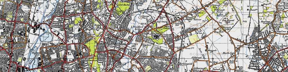 Old map of Woodford Bridge in 1946
