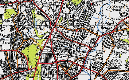 Old map of Woodford Green in 1946