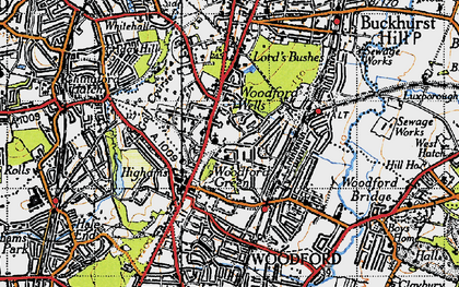 Old map of Woodford Wells in 1946