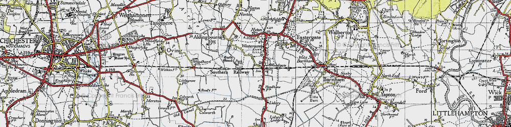 Old map of Woodgate in 1945