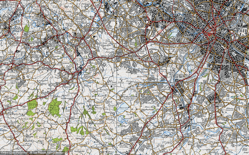 Old Map of Woodgate Valley, 1947 in 1947