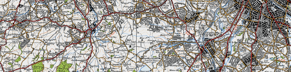 Old map of Woodgate Valley in 1947