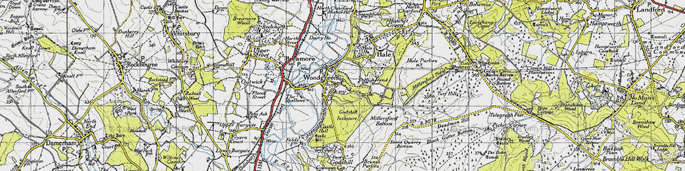 Old map of Woodgreen in 1940