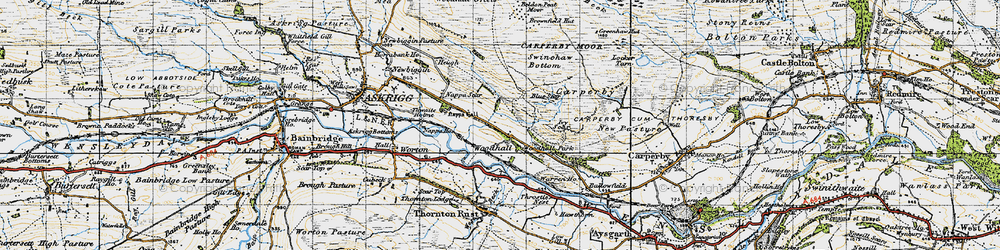 Old map of Woodhall in 1947