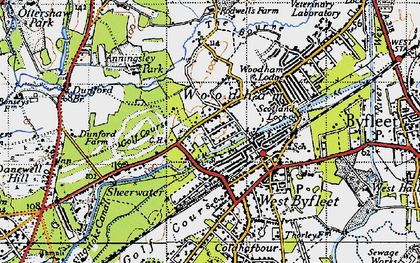 Old map of Woodham in 1940