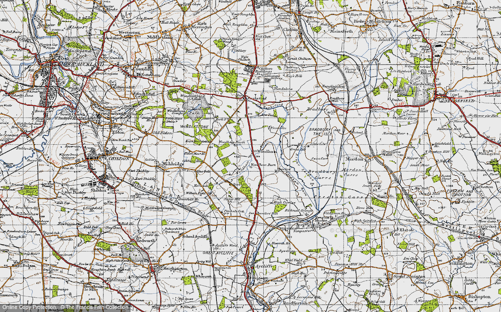 Old Map of Historic Map covering Woodham Burn in 1947