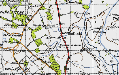 Old map of Woodham in 1947