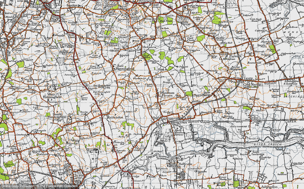 Old Map of Woodham Ferrers, 1945 in 1945
