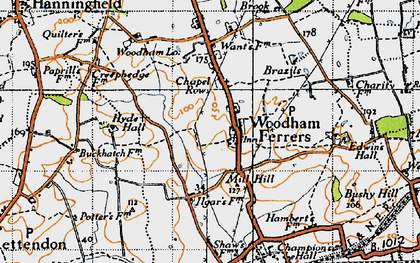 Old map of Woodham Ferrers in 1945