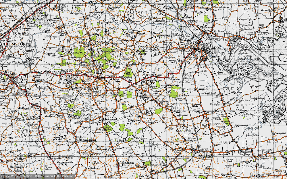 Old Map of Woodham Mortimer, 1945 in 1945
