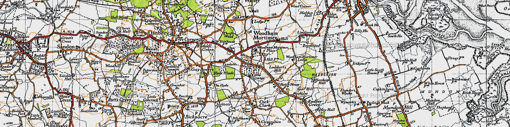 Old map of Woodham Mortimer in 1945