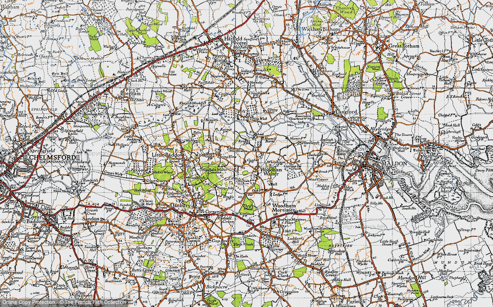 Old Map of Woodham Walter, 1945 in 1945