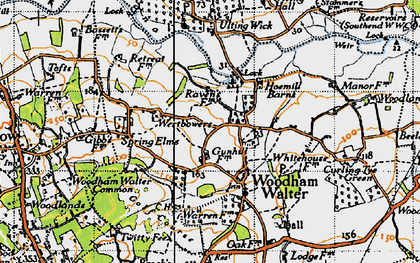 Old map of Woodham Walter in 1945