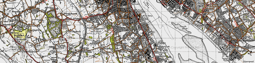 Old map of Woodhey in 1947