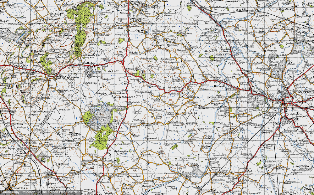 Old Map of Woodhey Green, 1947 in 1947