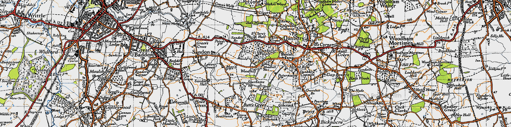 Old map of Woodhill in 1945