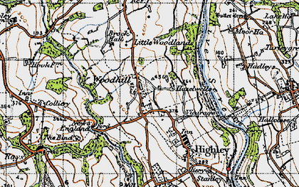 Old map of Woodhill in 1947