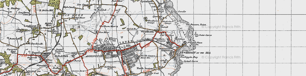 Old map of Woodhorn in 1947