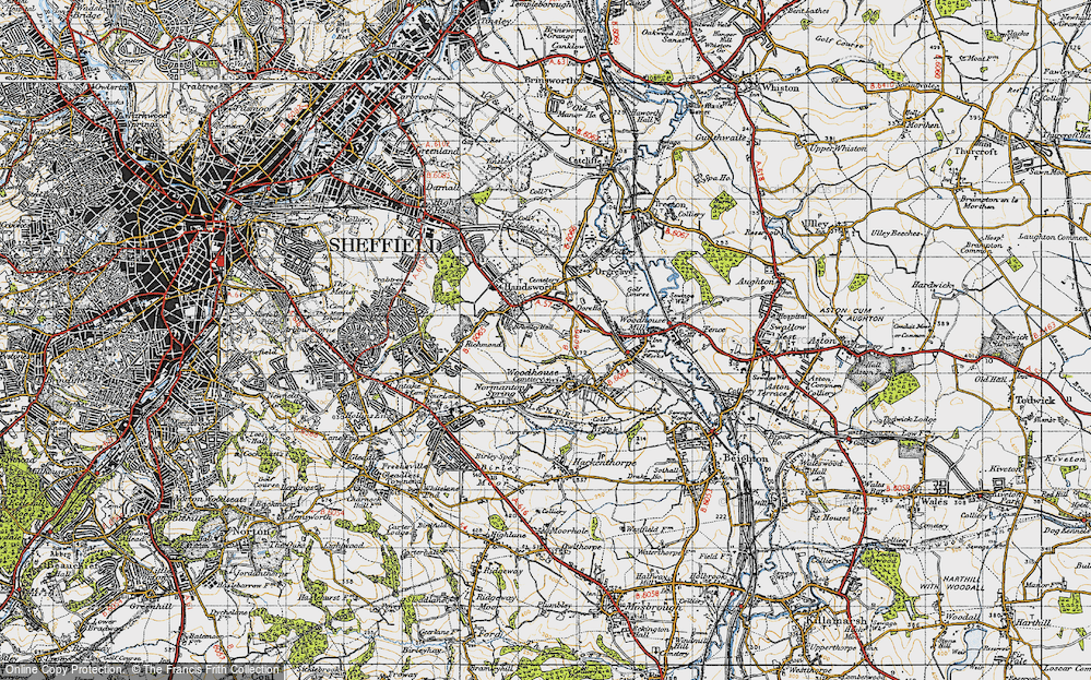 Old Map of Woodhouse, 1947 in 1947