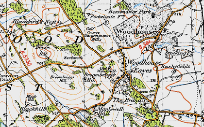 Old map of Woodhouse Eaves in 1946