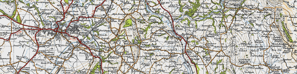 Old map of Woodhouse Green in 1947