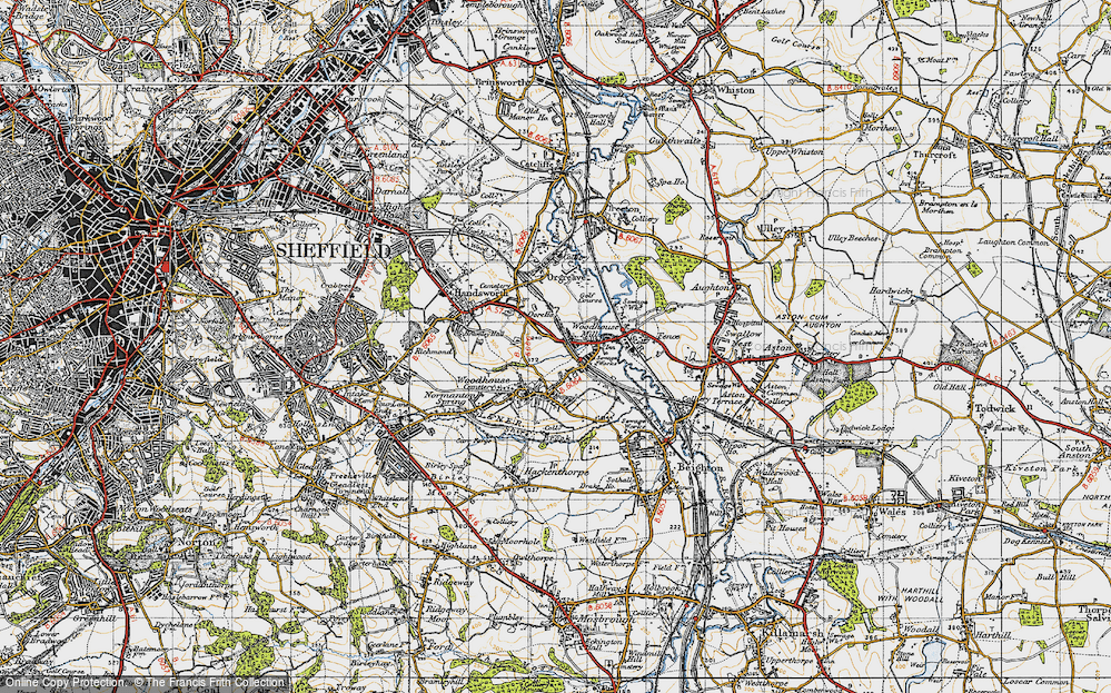 Old Map of Woodhouse Mill, 1947 in 1947