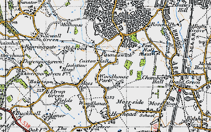 Old map of Woodhouse Park in 1947