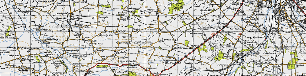 Old map of Woodhouses in 1947