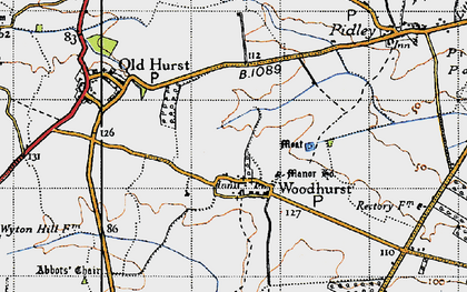 Old map of Woodhurst in 1946