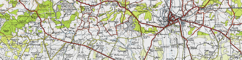 Old map of Woodington in 1945