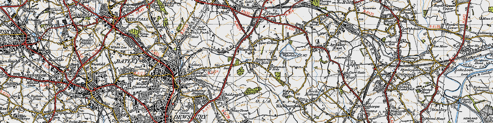Old map of Woodkirk in 1947