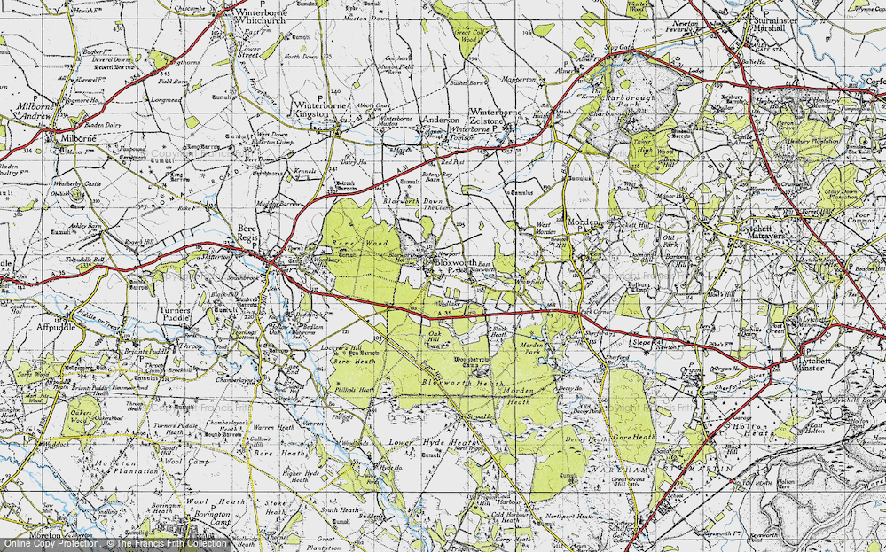 Old Map of Woodlake, 1945 in 1945