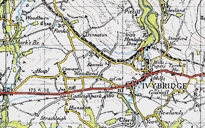 Old map of Woodland in 1946