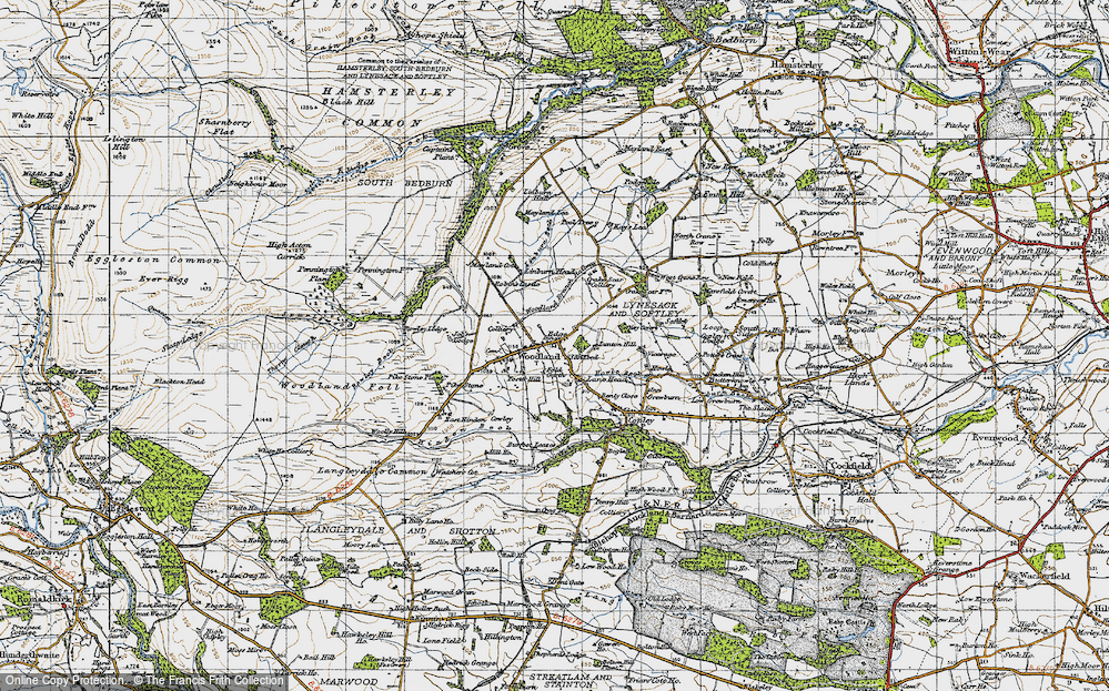 Old Map of Historic Map covering Linburn Hall in 1947
