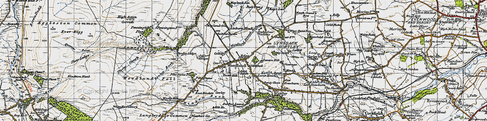 Old map of Woodland in 1947