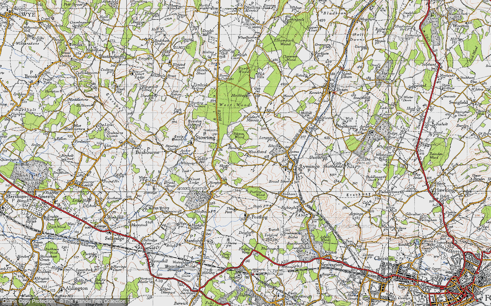 Old Map of Woodland, 1947 in 1947