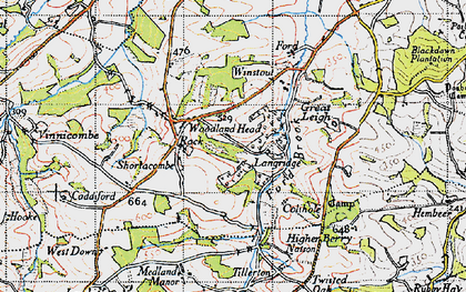 Old map of Woodland Head in 1946