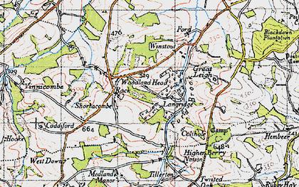 Old map of Tillerton in 1946
